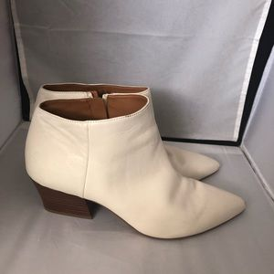 Franco Sarto cream leather point toe booties 11